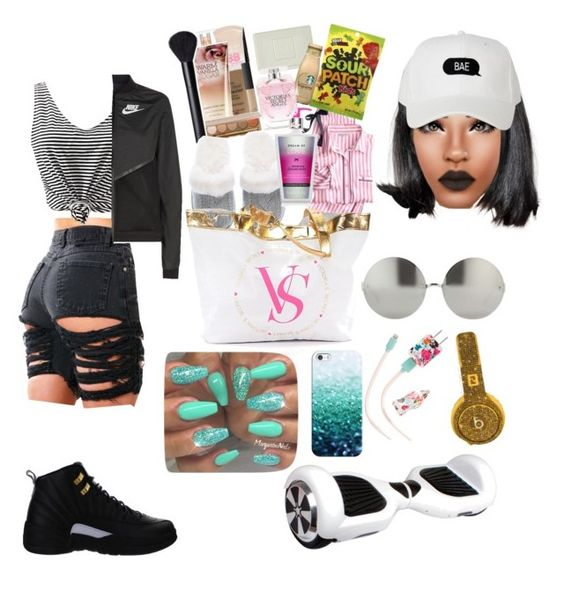 """""""staying with best friend"""" by ruthg08901 ❤ liked on Polyvore featuring WithChic, NIKE, Victoria's Secret, AERIN, Linda Farrow, Casetify, ban.do and Beats by Dr. Dre"""