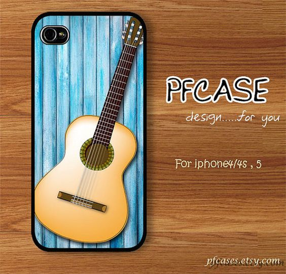 Classic guitar on the light blue wood pattern  Handmade by pfcases, $15.89