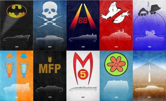 Kevin Henry, artista gráfico, fez uma série de cartazes minimalistas homenageando carros famosos do cinema.