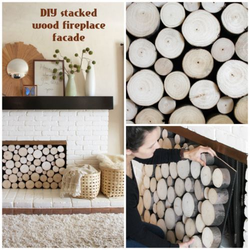 DIY Faux Stacked Log Fireplace Facade | Crafty Hands | Pinterest ...