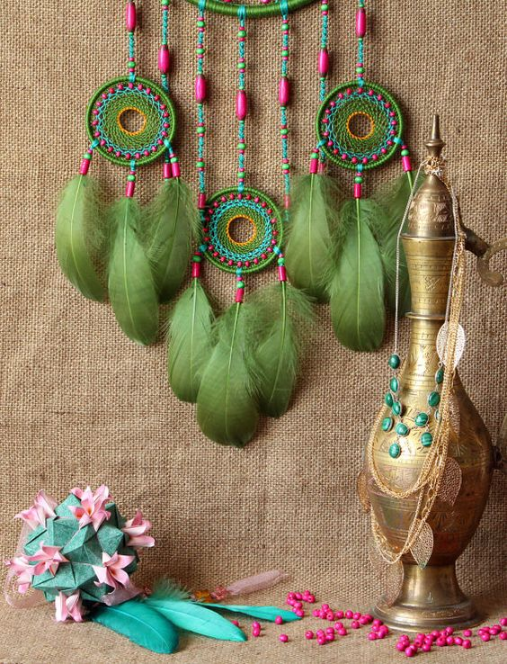 Dream catcher/Dreamcatcher/Large/Green/Boho/Gypsy by MyHappyDreams