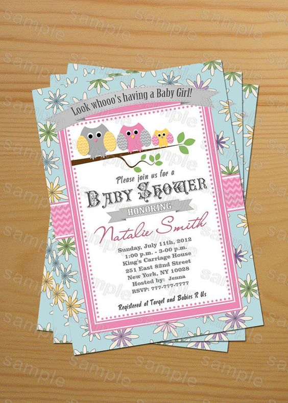 owls baby shower invitations girl printable custom - Free thank - free customizable printable baby shower invitations