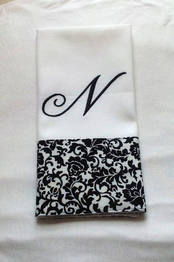 Monogrammed Embroidered Kitchen Towel  Dish by BUniqueDeZigns, $11.00