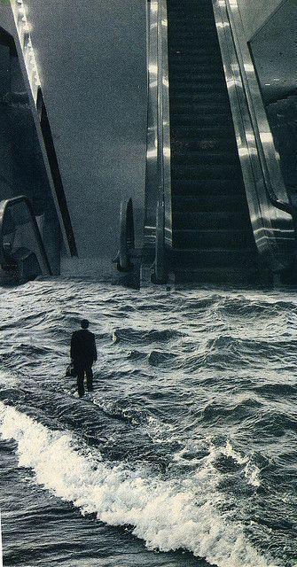 Un sueño cualquiera . Un hombre en traje caminando sobre el agua turbia del mar, se aleja de la playa, encuentra las escaleras al cielo..: