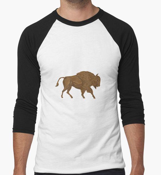 North American Bison Buffalo Charging Retro by patrimonio