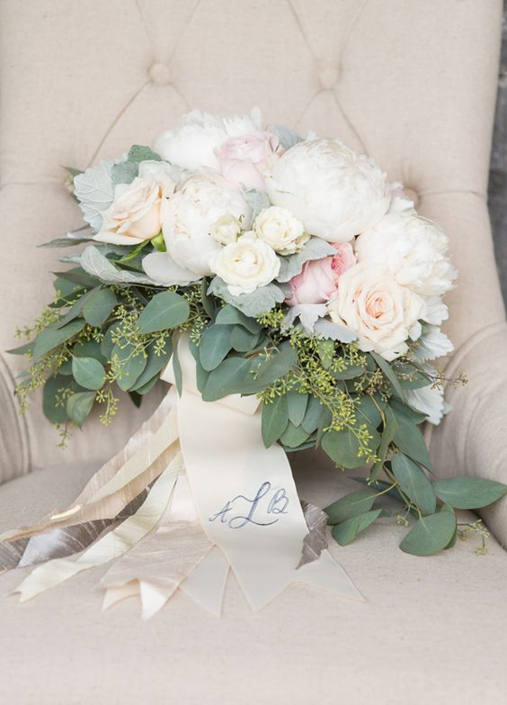 romantic rose and peony bouquet with seeded eucalyptus by Lesley Frascogna