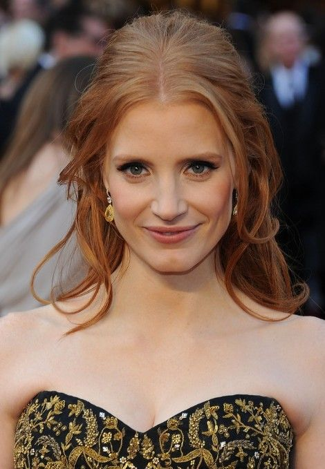 Jessica Chastain Half Up Down Red Formal Hairstyles