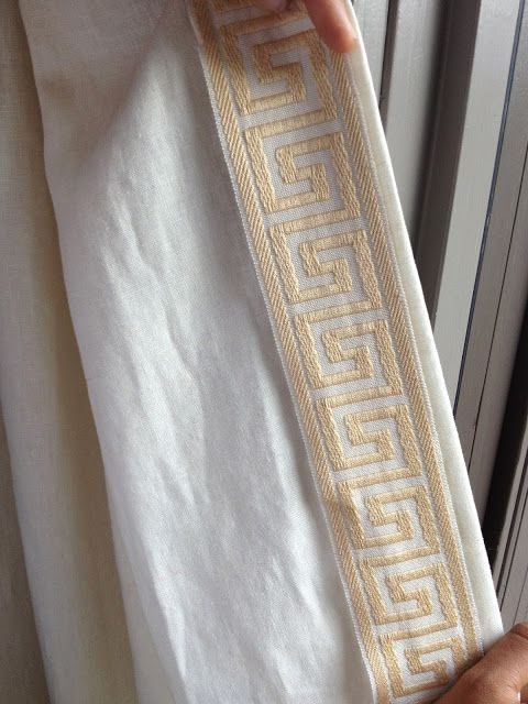 Greek Key Trimmed Drapes Curtains Diy Trim Linen Aina Ikea Ivory Window Treatments Rosa