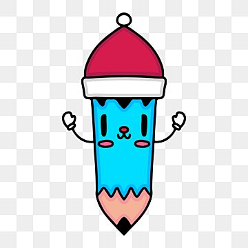 Cute Pencil Character With Santa Claus Hat Doodle Illustration Pencil Clipart Winter Christmas Png And Vector With Transparent Background For Free Download Doodle Illustration Christmas Illustration Holiday Illustrations