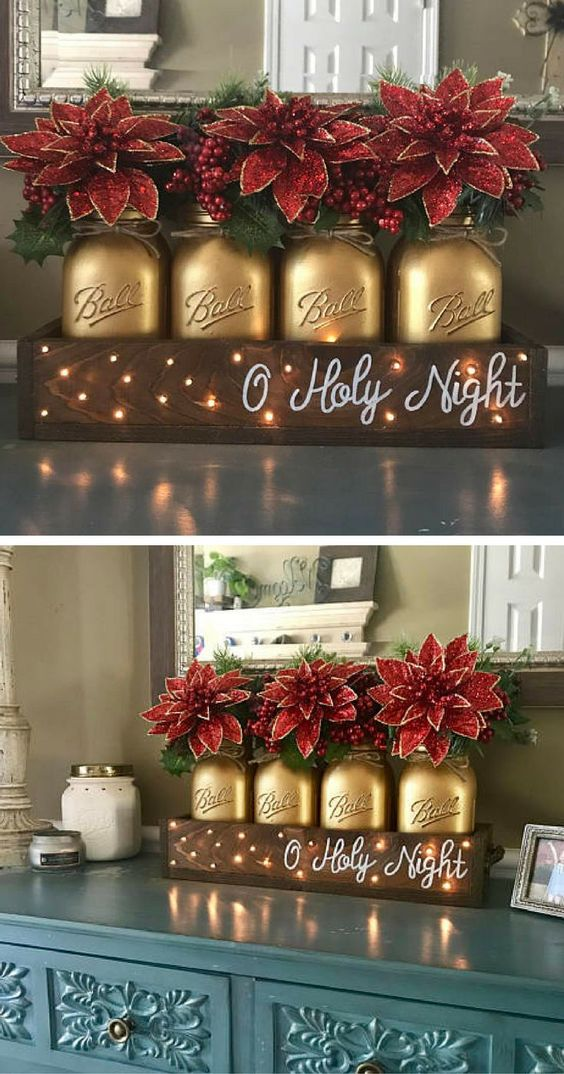 Christmas table decor - christmas centerpiece - Christmas mason jar decor - farmhouse Christmas decor - painted mason jar decor, Oh Holy Night, Rustic Christmas, Poinsettia Christmas decor #ad