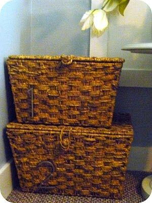 Pottery Barn inspired numbered baskets.