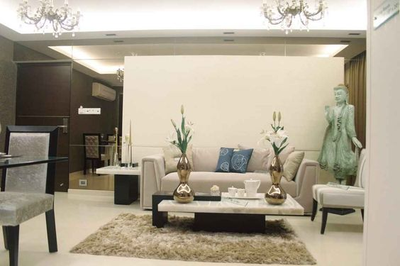 zen style living room with area rug design by shahen