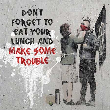 Banksy Don't Forget Your Scarf Punk Graffiti