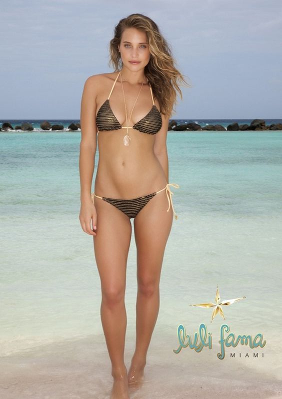 2015 Luli Fama Moons Over Miami Triangle Top and Brazilian Tie Side Bottom  - halter bikini at butterfliesandbikinis.com