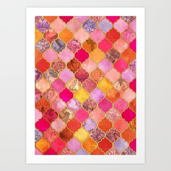 画像1: Hot Pink, Gold, Tangerine & Taupe Decorative Moroccan Tile Pattern by…