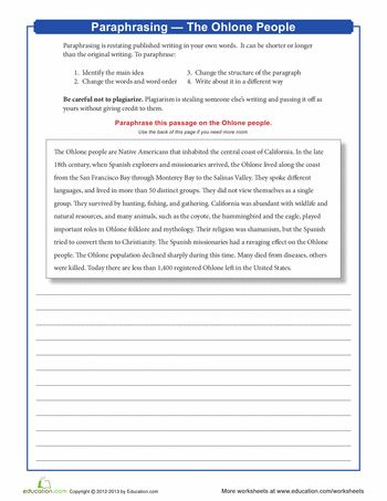 Paraphrasing and summarizing worksheets in quoting