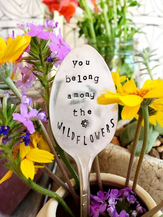 Garden Marker, Stamped Silver, Gardener Gift, Gift For Her, Garden Quote, Stamped Spoon, Alice and W