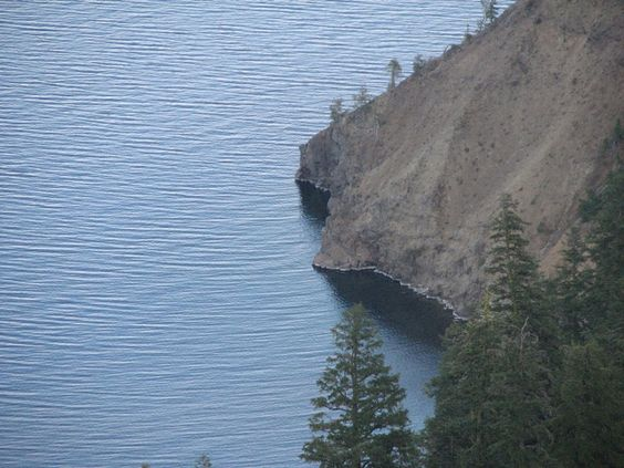 fairly straight cliffs to the water...