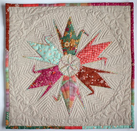 origami crane patchwork pillow!  by patchworkpottery on flickr.  #sewing #diy #quilt: