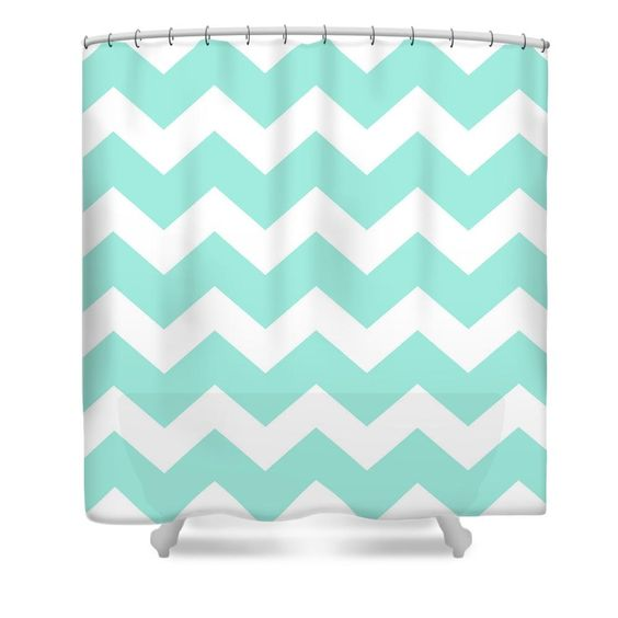 Sea Green Chevron Pattern Shower Curtain for sale by Christina ...
