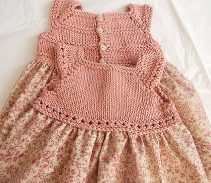 Laura dress by Barbara Ajroldi. Knit top sewn to calico fabric. Sizes: 0-3 mos (3-6 mos, 6-12 mos, 12-18 mos, 18-24 mos, 2-4 yrs, 4-6 yrs, 6-8 yrs, 8-10 yrs)