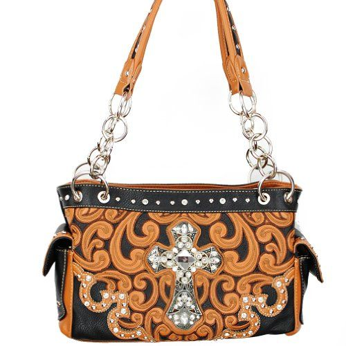 Montana West Spiritual Collection Classic Western Cowgirl Cross Floral Embroidery Studded Shoulder Handbag