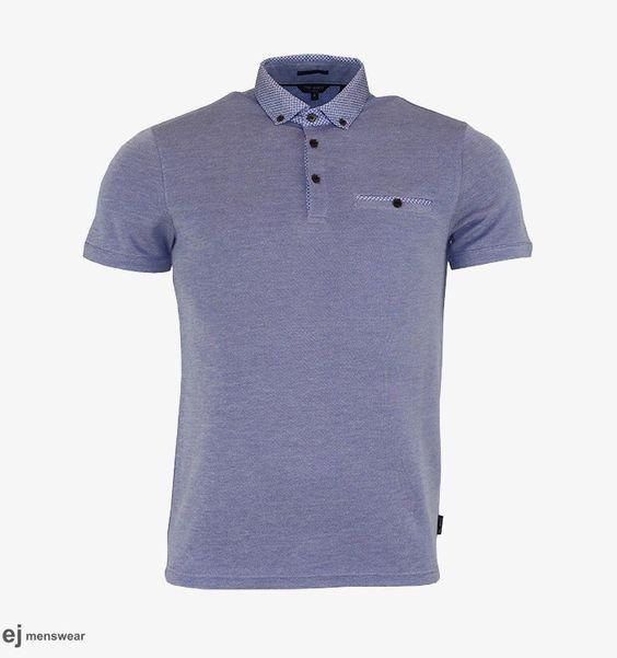 Ted Baker Blue Wovan Collar Oxford Polo