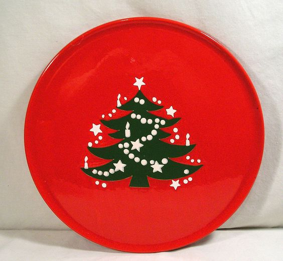 """Waechtersbach W.Germany Red Christmas Dishes,12"""" Christmas Tree Cake Plate Tray #Waechtersbach"""