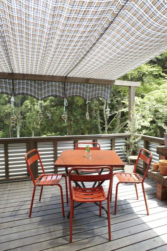 An inexpensive idea for an overhang on the back deck....kind of liking this from a DIY point of view anyway. :-)