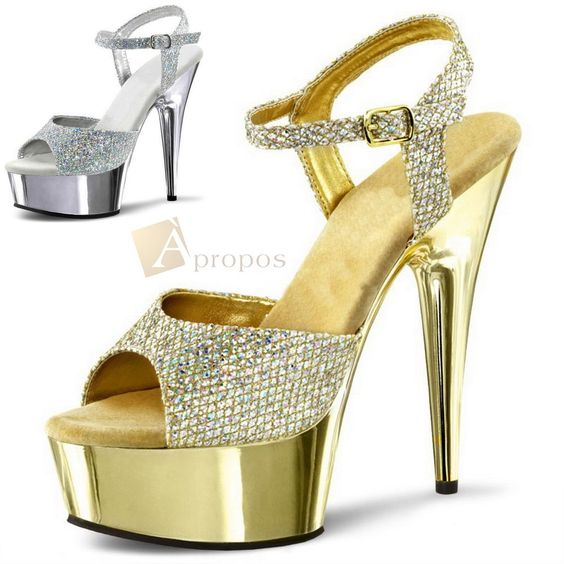 Plateau High Heels Pumps 10cm Stilletto Abendschuhe Gold Silber Chrom Apropos