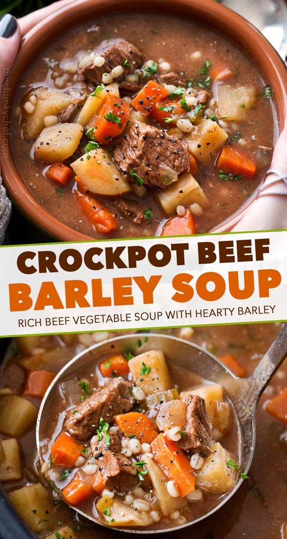 Crockpot Beef Barley Soup - The Chunky Chef