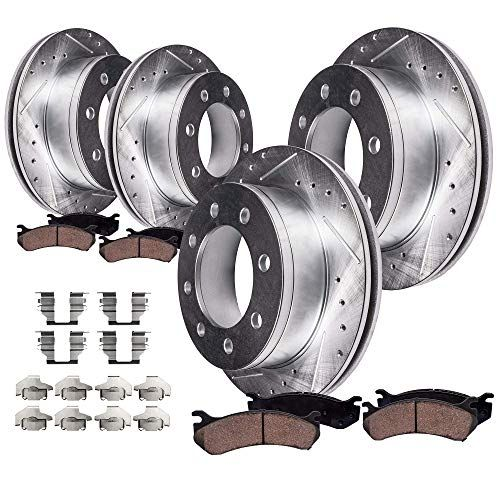 Detroit Axle All 4 Front And Rear Drilled And Slotted Disc Brake Rotors W Ceramic Pads W Hard Ceramic Brake Pads 2008 Dodge Ram 2500 Brake Rotors