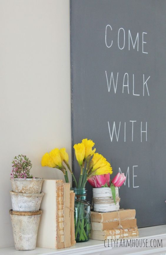 Seasons of Home-Easy Spring Decorating Ideas {City Farmhouse} diy art & fresh flowers
