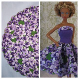 Ooak strapless Barbie dress and the vintage circle hankie it was made from