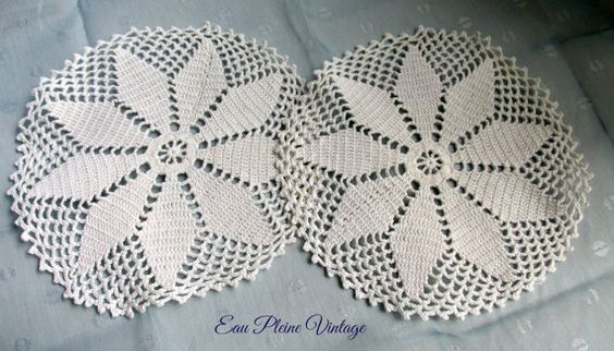 White Table Dollies Doily Home Decor Pair by EauPleineVintage