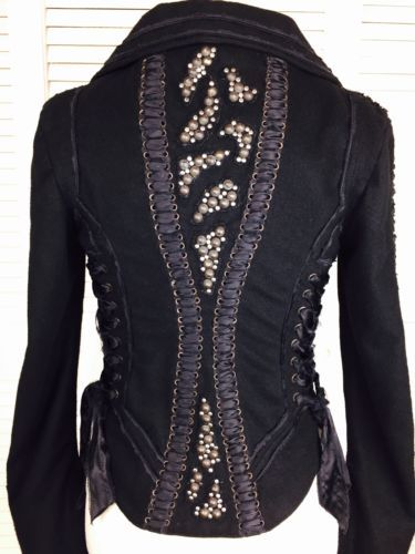 ERNTE Studded Corset Gothic Bustier Jacket Blazer Balmain Biker Lace Up Vest S in Clothing, Shoes & Accessories, Women's Clothing, Coats & Jackets | eBay