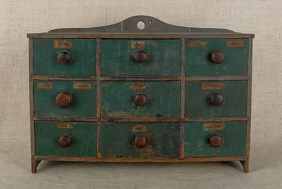 New England painted pine spice cabinet