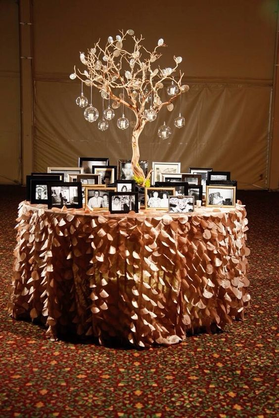 Memory Table. I also think it'd be great as a graduation table in school colors…: