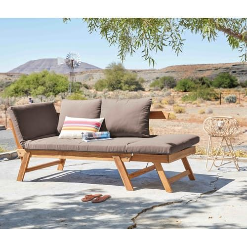 Modulare 3 Sitzer Gartenpolsterbank Aus Akazienholz Relax Banco De Jardin Sofa Jardin Banco Al Aire Libre