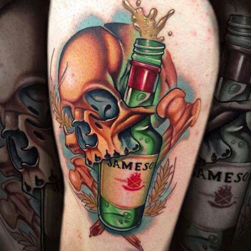 Skull engulfing Jameson liquor bottle tattoo | The Human ...