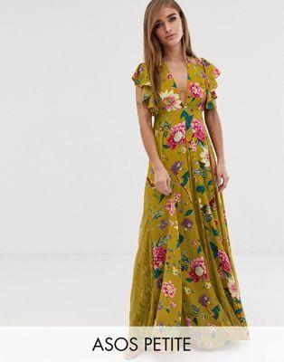 Vago sarto serbatoio  ASOS DESIGN Petite maxi dress with lace godets in mustard floral print | Petite  maxi dress, Maxi dress, Maxi dress prom