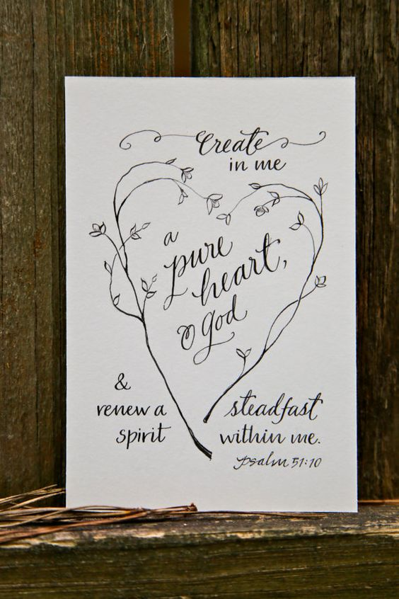 Hand-Lettered Scripture Print - Psalm 51:10 - Bella Scriptura Collection from Paperglaze Calligraphy on Etsy, $7.50