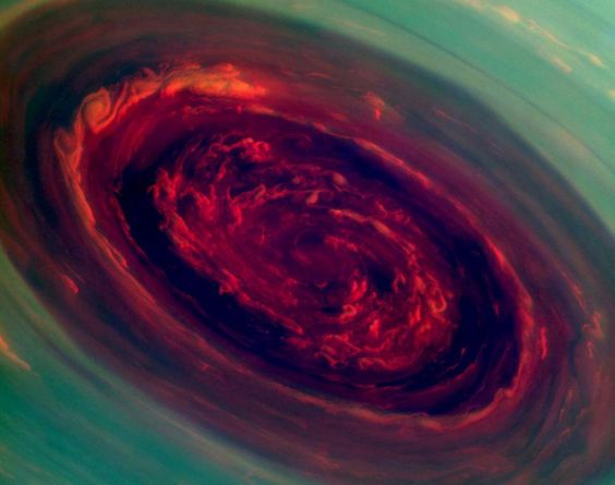 Think hurricanes here on Earth are bad? Check out this amazing snap of a monster hurricane at Saturn's North Pole. NASA has shared this false-color image from their Cassini spacecraft. The eye of the cyclone reached 1,250 miles across which is 20 times the size of the storms on Earth.