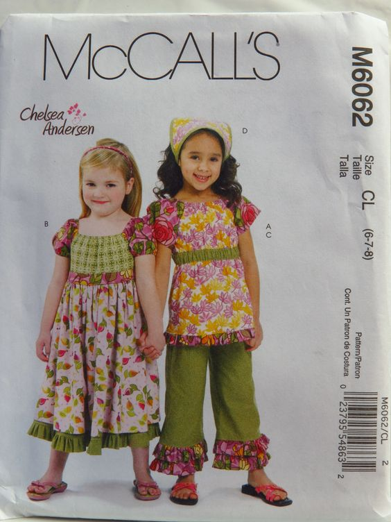 McCall's 6062 Children's/Girls' Top, Dress, Capri Pants and Kerchief: