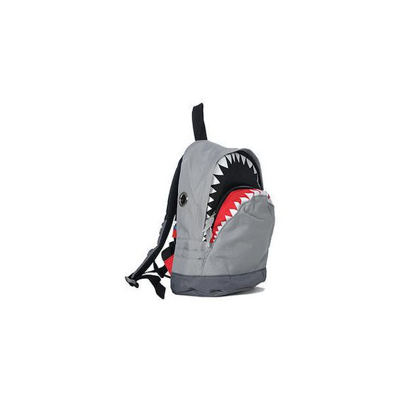 Shark Backpack (M) Gray - M Size ($52) found on Polyvore