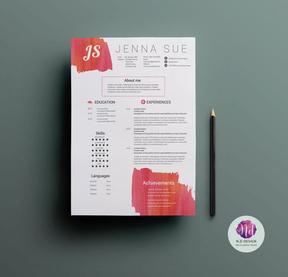 modern resume template   cover letter template   reference letter template   watercolor theme