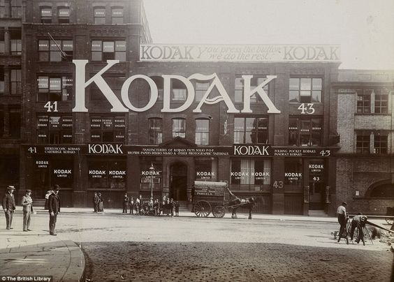 "Date and photographer unknown. Kodak store in London, England.  ""You press the button we do the rest"""