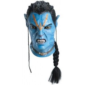 Masque avatar Jake Sully latex adulte avec tresses luxe, licence avatar, Halloween
