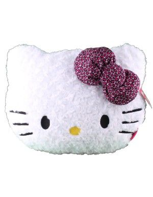 Hello Kitty Die Cut Leopard Bow Pillow / White