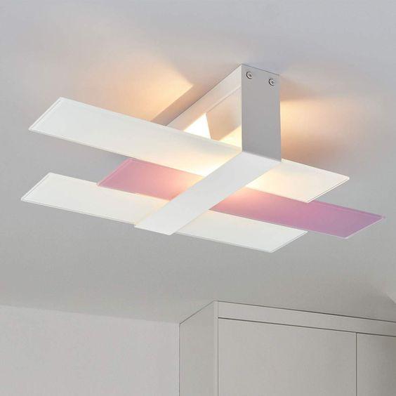 Deckenleuchte Triad 48 Cm Weiss Lila Von Linea Light Deckenleuchten Schlafzimmerleuchten Wandleuchte